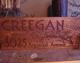 Rustic Sign, Custom carved sign, Address plaque, New Home, Address sign,  Sign for outdoors, House Number sign, Housewarming, Wood Sign