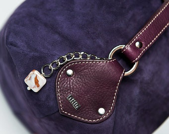 FALL COLLECTION/Handbag Paris full grain leather suede/ blackberry # 31