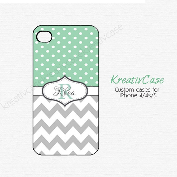 iPhone 4 Case, Monogrammed Samsung Galaxy S4 case, Dots Chevron MINT and GREY, Custom iPhone 5s cover, Samsung Galaxy s3 case K024