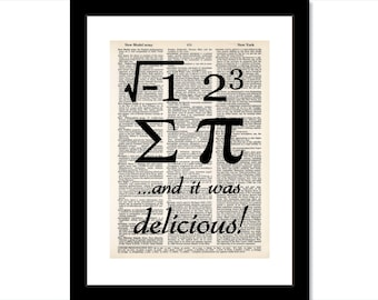 I 8 sum pie and it was delicious math humor typography dictionary art print