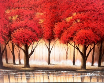 "RED FORREST TREES - Original Oil Painting - 36"" x 48"" Stretched"