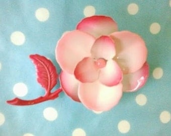 Vintage Pink Rose Brooch Or Boutenniere
