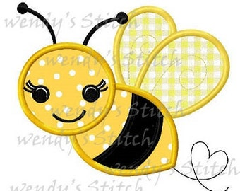 Bumble bee applique machine embroidery digtial design