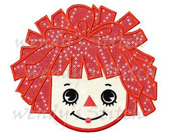 vintage raggedy ann doll machine embroidery design digtial pattern