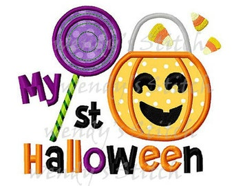 My first Halloween applique machine embroidery design