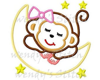 Instant download Girl monkey applique machine embroidery design