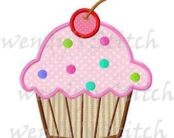 Cherry cupcake applique machine embroidery design