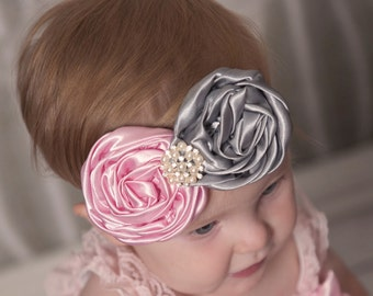 Headband Baby Headband Newborn Headband Satin Rosette Headband Flower Girl Headband Baby Girl Headband Pink Flower Headband Newborn Headband