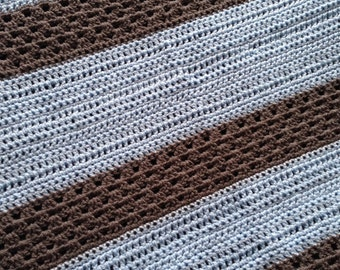 Blue and Grey Crochet Baby Blanket
