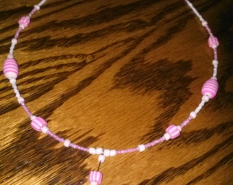 Pink & White Striped Polymer Clay Necklace