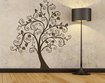 Swirly Tree Wall Decal - Modern Flower Vinyl Sticker