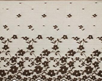 Floral Raschel Lace Trim, 7-3/4 Inch 1 Yard, BROWN, SP-2018