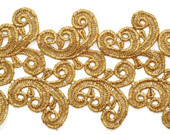Metallic Lace Trim for Bridal, Costume or Jewelry, Crafts and Sewing, 4-3/8 Inch by 1 Yard, LP-MX-4608