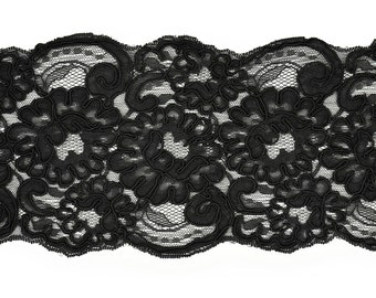 Embroidery Flower Ribbon Lace Trim, Bridal Lace, 4-3/4 Inch by 1 Yard, BLACK, ROI-44506