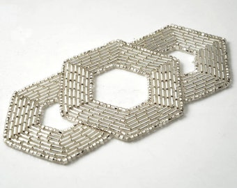 """Silver Beaded Applique, Beaded patch, Bridal Applique by 1pc, 4-5/8"""" x 2-1/4"""" , FF-M2213"""