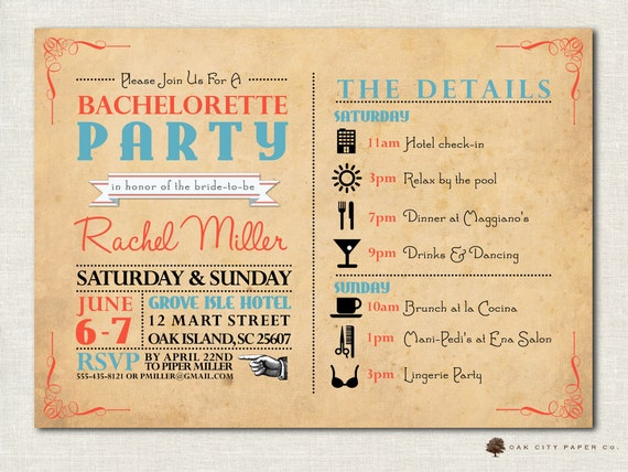 Bachelorette invitation bachelorette party invitation like this item stopboris Images