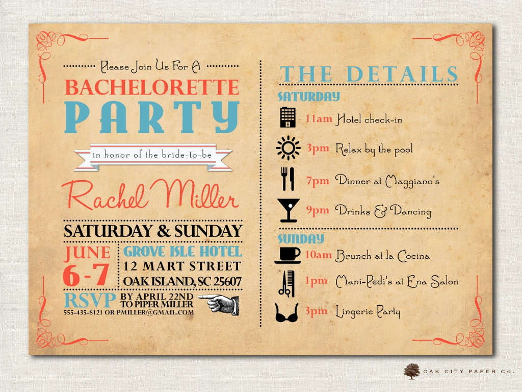 bachelorette weekend invitations