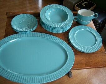 Classic  by Mallory, Turquoise Blue dishes