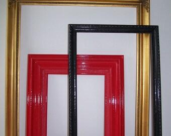 Upcycled Vintage Open Frame Set of 3 Gold Red Black Home Decor