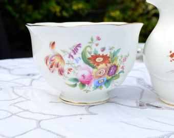 Vintage English Coalport Bone China Junetime Flowers by D Capey - Sugar Bowl Dish Basin - White with Floral Sprays