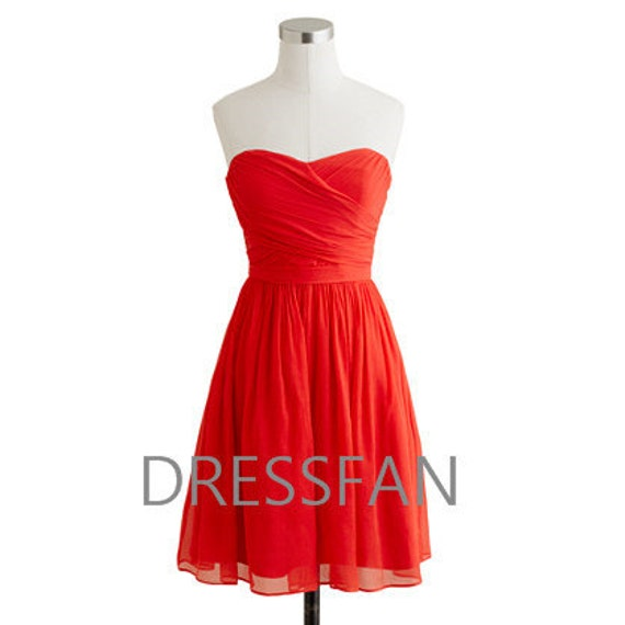 Bridesmaid dress/knee-length/strapless/deep coral/sheath column