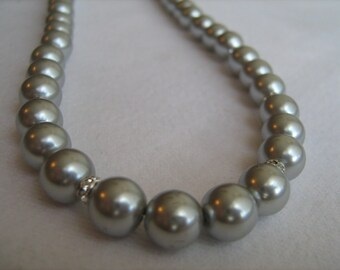 Grey Pearl and Crystal Necklace