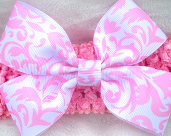 Pink Damask Handmade Bow With Headband- Baby Girl Damask Bow With Headband- Little Girl Pink Bow With Headband