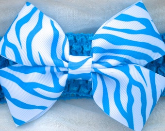 Blue Zebra Bow