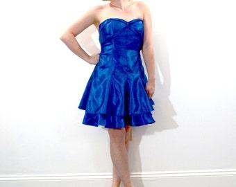 Vintage 80s Royal Blue Prom Dress // 1980s GUNNE SAX Dress // Mini Dress // Party Dress // Homecoming Dress / A1
