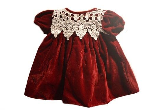 Vintage Baby Girl Red Velvet Dress Maroon White Floral