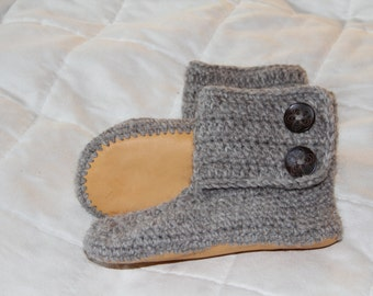 Lady's crochet alpaca boots with sheepskin lined leather soles, natural un-dyed, crochet slippers, women's slippers, sizes 5 - 11
