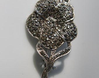 Rose marcassite brooch