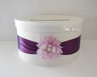 Wedding card box / money box / card holder / gift card box / 1 Tier (White & Purple) - round
