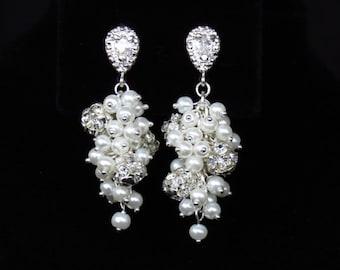 Pearl Cluster Earrings - Bridal Earrings - Crystal Pearl Earrings - Bridesmaid Jewelry - Wedding Party Accessories - Long Earrings - Dangle
