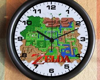 LEGEND OF ZELDA 8 Bit Game Map Big 10 inch black wall clock  Ships Tomorrow