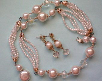 Beaded faux Pearl with AB Bead Necklace & Earrings Set - 3119