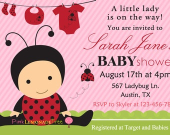 Ladybug Baby Shower Invitation, Ladybug Invite for baby shower, pink and red