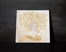 Autumn Wedding Guestbook watercolor tree on canvas 220 signature Available with the number of leaves you want. Colour nuanced yellow ocher