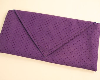 Purple Polkadot Envelope Clutch