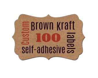 Custom Labels - Personalized Labels - custom self-adhesive labels - fancy bracket die cut labels