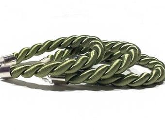 Green Bracelet, Rope Bracelet, Personalized Twisted Silk Cord Bracelet - Green Bracelet - More Colors Available!
