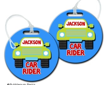 CUSTOM Personalized Boys or Girls School Bus Car Rider ID Bag tag for backpack Luggage ID Fiberglass not laminated diaper camera tote