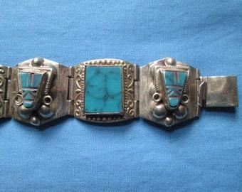 Vintage Signed Sterling Silver and Turquoise Bracelet
