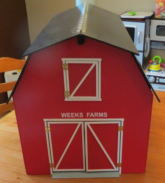 Red Wooden Toy Barn With Attached Silo