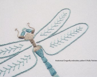 Anatomical Dragonfly modern hand embroidery pattern - modern embroidery PDF pattern, digital download