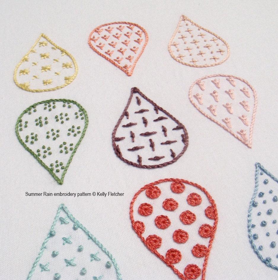Summer rain modern hand embroidery pattern