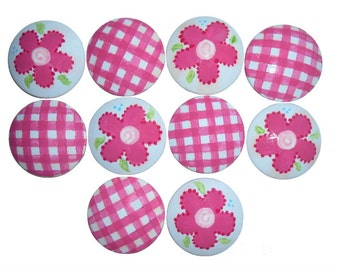 10 Custom Girls Pink Flower and Gingham Hand Painted Drawer Pulls Knobs