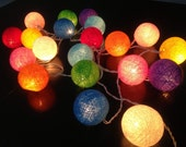 20 Cotton Ball  Fairy String Lights Party Patio Wedding Floor Table or Hanging Gift Home Decor Christmas Bedroom,rainbow color