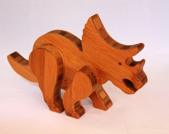 """Wooden Toy Dinosaur """"Bamboo Triceratops"""" Child Safe, Handcrafted from Reclaimed Bamboo, Eco-friendly by GiggleTree Toys"""
