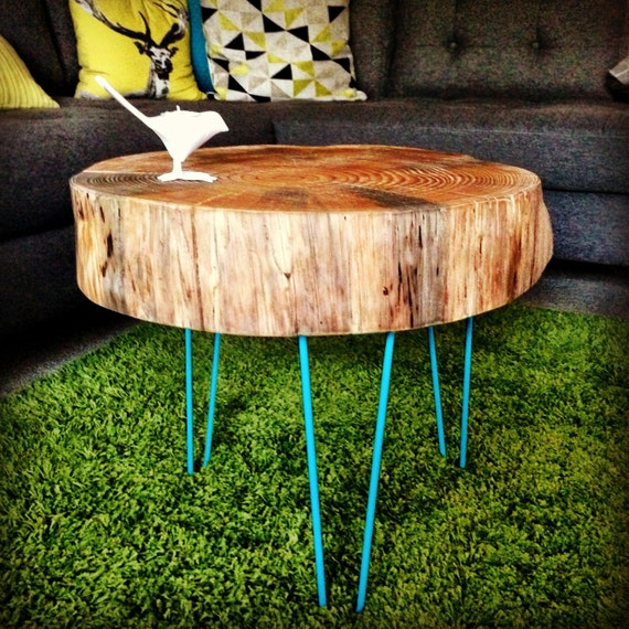 Round Wood Hairpin Coffee Table: Large Live Edge Coffee Table W/ Hairpin Legs